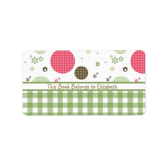 Trendy Cute Gingham Polka Dots With Name Label