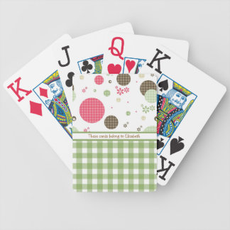 Trendy Cute Gingham Polka Dots With Name Poker Deck
