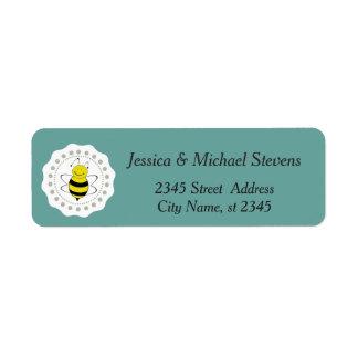 Trendy cute girly bee return address label