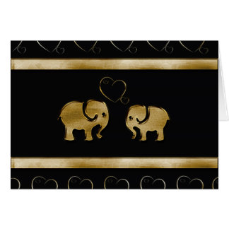 Trendy cute luxury  black /golden elephant in love card