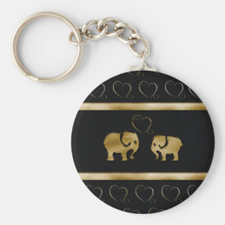 Trendy cute luxury  black /golden elephant in love keychain