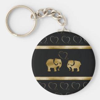 Trendy cute luxury  black /golden elephant in love keychain