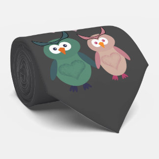 Trendy cute owl love couple tie