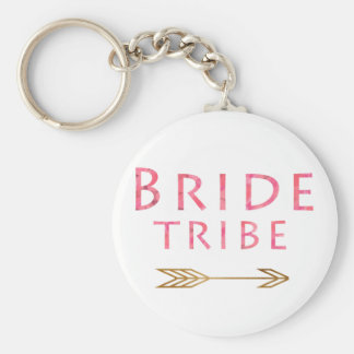 trendy cute pink bride tribe gold arrow design keychain