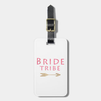 trendy cute pink bride tribe gold arrow design luggage tag