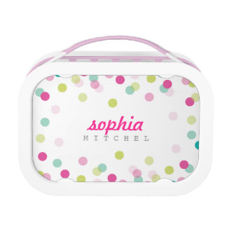 TRENDY cute polka dot confetti pattern pink green Lunchbox