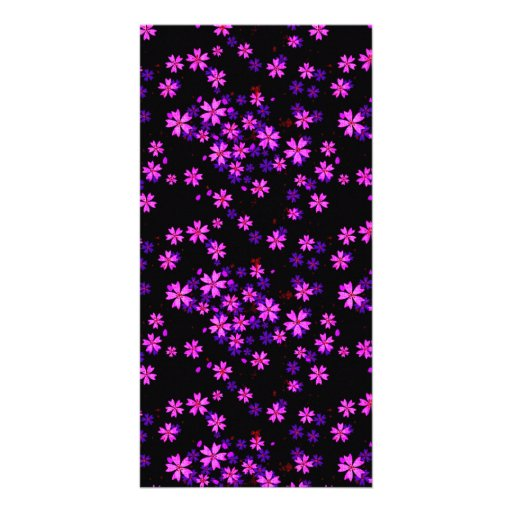 Trendy Cute Purple and Black Floral Print Personalized Photo Card