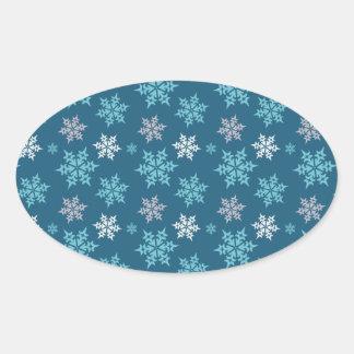 Trendy Cute Snowflake Pattern in Blue Oval Sticker