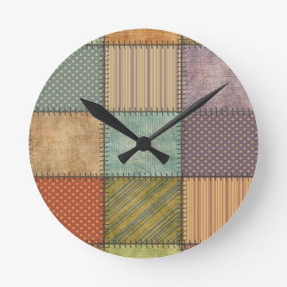 Trendy cute vintage retro colorful patchwork round clock
