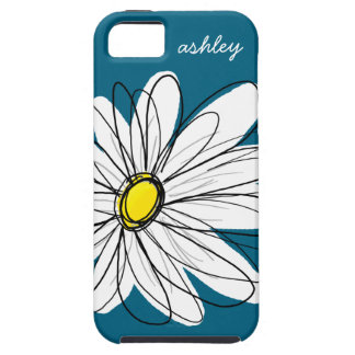 Trendy Daisy Floral Illustration - blue and yellow iPhone 5 Cases