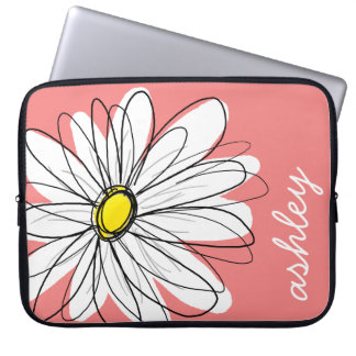 Trendy Daisy Floral Illustration - coral & yellow Laptop Sleeve