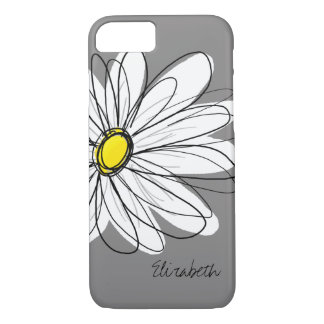 Trendy Daisy Floral Illustration - gray and yellow iPhone 7 Case
