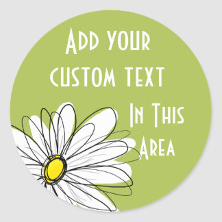 Trendy Daisy Floral Illustration - lime and yellow Classic Round Sticker