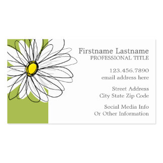 Trendy Daisy Floral Illustration - lime and yellow Pack Of Standard Business Cards