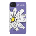 Trendy Daisy Floral Illustration yellow purple Case-Mate iPhone 4 Case