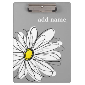 Trendy Daisy with gray and yellow Clipboard