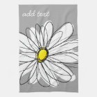 Trendy Daisy with grey and yellow Kitchen Towel