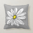 Trendy Daisy with grey and yellow Throw Pillow