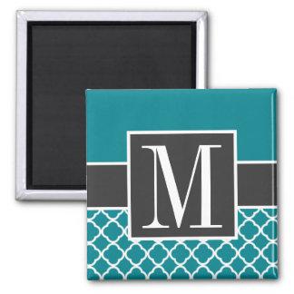 Trendy Dark Turquoise Quatrefoil Magnet