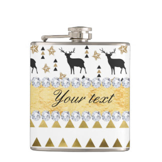 Trendy Deer Triangles Pattern and Diamonds Flasks