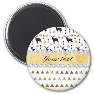 Trendy Deer Triangles Pattern and Diamonds Magnet