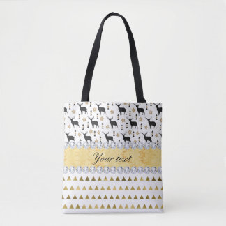 Trendy Deer Triangles Pattern and Diamonds Tote Bag
