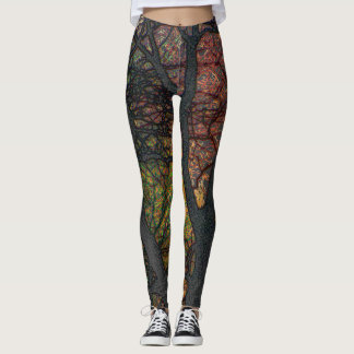 Trendy Digital Art Tree Yoga Running Exercise Leggings