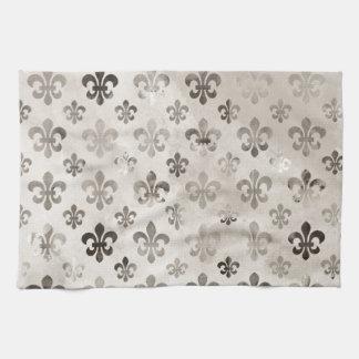 Trendy Distressed Silver Grey Fleur De Lis Pattern Kitchen Towel