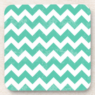 Trendy Distressed Worn Blue White Chevron Pattern Coaster