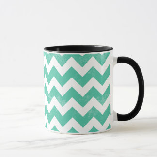 Trendy Distressed Worn Blue White Chevron Pattern Mug