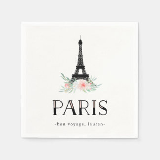 Trendy Eiffel Tower and Blush Pink Flowers | Paris Disposable Napkins
