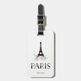 Trendy Eiffel Tower and Blush Pink Flowers | Paris Luggage Tag