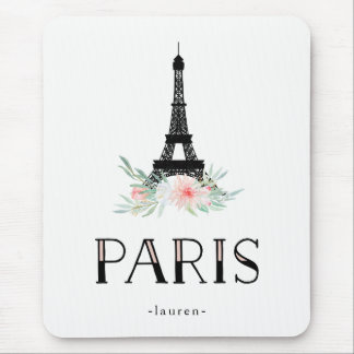 Trendy Eiffel Tower and Blush Pink Flowers | Paris Mouse Pad