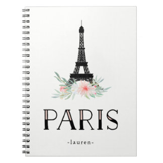 Trendy Eiffel Tower and Blush Pink Flowers | Paris Notebook