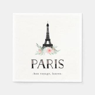 Trendy Eiffel Tower and Blush Pink Flowers   Paris Paper Napkin