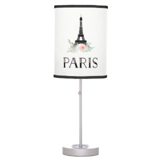 Trendy Eiffel Tower and Blush Pink Flowers | Paris Table Lamp
