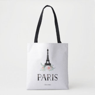 Trendy Eiffel Tower and Blush Pink Flowers | Paris Tote Bag