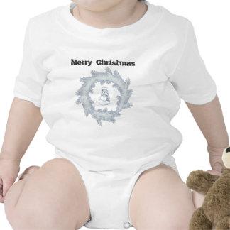 Trendy elegant Christmas wreath snowman Bodysuit