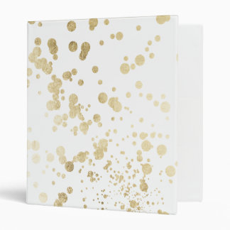 Trendy elegant faux gold modern confetti pattern 3 ring binder