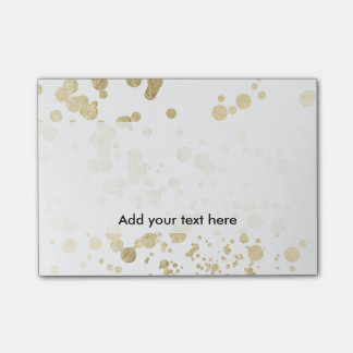 Trendy elegant faux gold modern confetti pattern post-it® notes