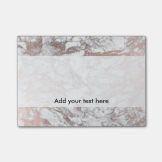 Trendy elegant white faux rose gold modern marble post-it® notes