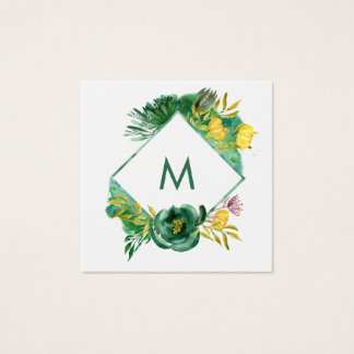 Trendy Emerald Green and Gold Peonies Square Business Card