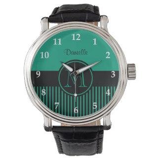 Trendy Emerald Green Chic Black Stripe Monogram Watch
