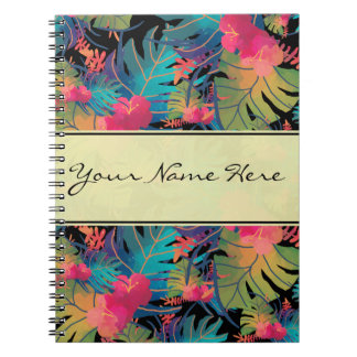 Trendy Exotic Tropical Leaves with Gold Note Books