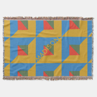 Trendy Fall Geometric Color Block Monogram Autumn Throw Blanket