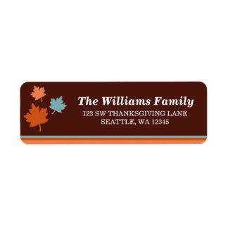 Trendy Fall Leaves Thanksgiving Address Label