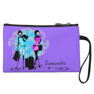 Trendy fashion diva girls purple wristlet