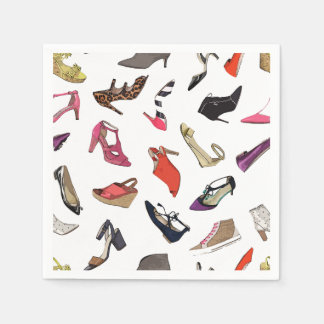Trendy fashion shoes paper napkins