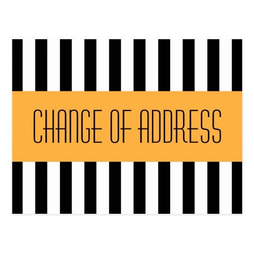 Trendy fashionable orange new address moving post card