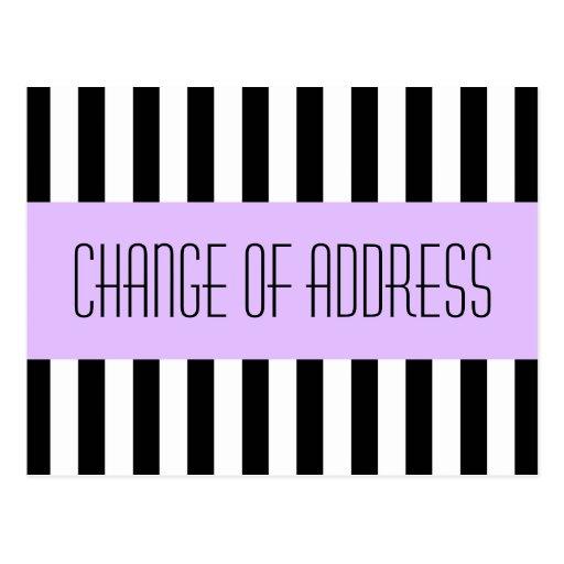 Trendy fashionable purple new address moving postcard